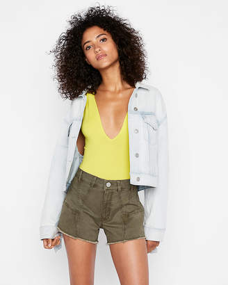 Express High Waisted Raw Hem Twill Midi Shorts