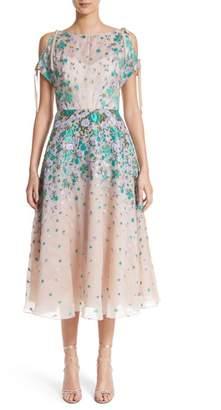 Lela Rose Floral Matelasse Cold Shoulder Dress