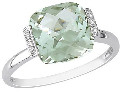 2.68 CT.T.W. Green Amethyst and Diamond Accent Ring in 14K White Gold