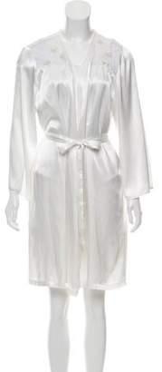 Oscar de la Renta Long Sleeve Mesh-Accented Nightgown