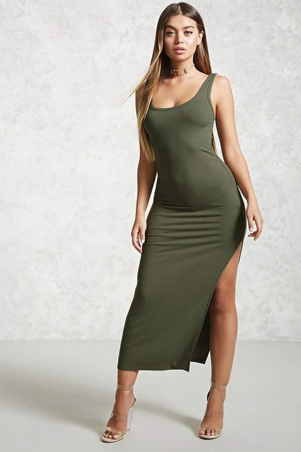 FOREVER 21 Ribbed Side-Slit Maxi Dress