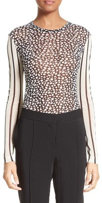 Women's Yigal Azrouel Cheetah & Stripe Mesh Tee $350 thestylecure.com