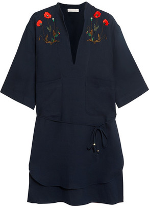 Stella McCartney - Embroidered Cotton Shirt - Navy $400 thestylecure.com