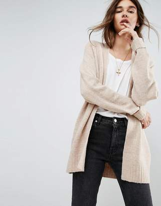Asos DESIGN Chunky Knit Cardigan In Wool Mix