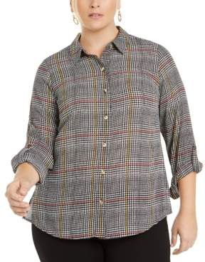 Charter Club Plus Size Roll-Sleeve Plaid Shirt, Created for Macy's