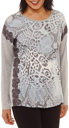 Lark Lane Silver Screen Long Sleeve Jewel Neck T-Shirt-Womens