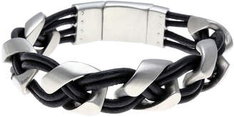 JCPenney FINE JEWELRY Mens Braided Black Leather Stainless Steel Bracelet