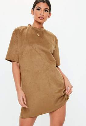 Missguided Camel High Neck Faux Suede Dress