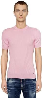 DSQUARED2 Wool Rib Knit Short Sleeve T-Shirt