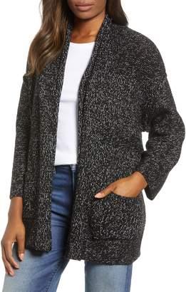 Caslon Open Texture Stripe Cotton Blend Cardigan