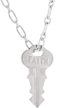 "The Giving Keys Silvertone 'FAITH' Key Pendant w/ 30"" Dainty Chain"