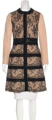 Valentino Lace-Paneled Wool Coat