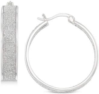 Simone I. Smith Glitter Hoop Earrings in Sterling Silver