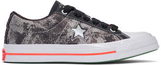 Converse Black and Silver Sad Boys One Wish Edition One Star Sneakers