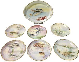 One Kings Lane Vintage French Limoge Fish Service Set of 7 - Jacki Mallick Designs