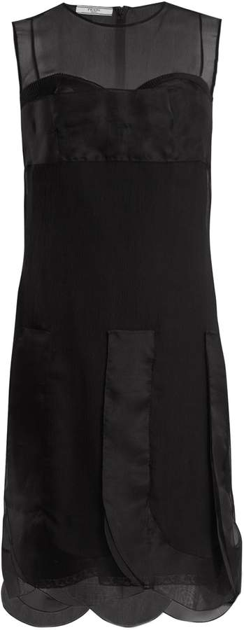 PRADA Scalloped-hem silk-chiffon dress