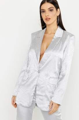 boohoo Leopard Satin Tailored Blazer