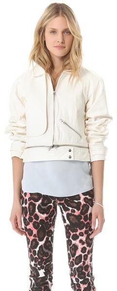 Rebecca Minkoff Leather Stone Bomber Jacket