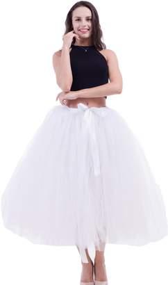 FOLOBE Women Vintage Puffy Tutu Skirts Free Waist Petticoat 31.5in