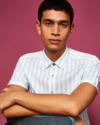 Ted Baker NOTISS Vertical stripe cotton-blend shirt