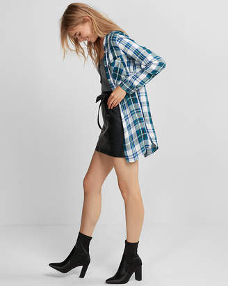 Express Plaid Button Front Tunic