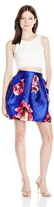 Amy Byer A. Byer Junior's Two Piece Floral Dress with Lace