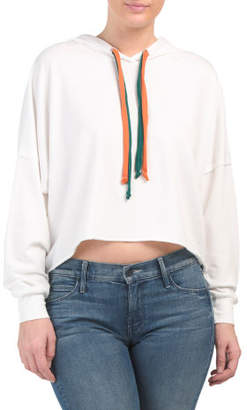 Juniors Boxy Cropped Color Block Hoodie