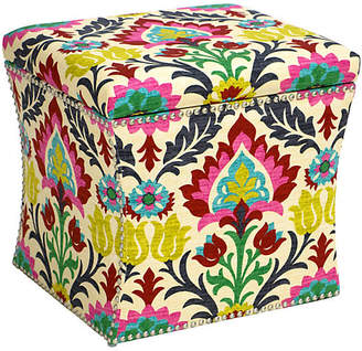 One Kings Lane Merritt Storage Ottoman - Pink/Yellow Ikat