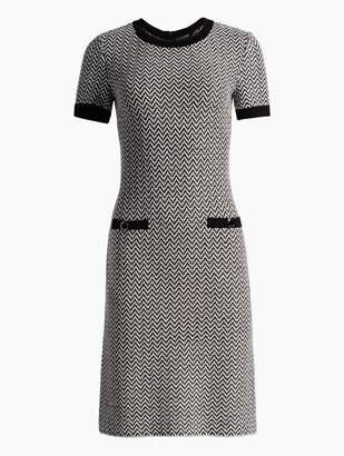 St. John Mod Herringbone Knit Short Sleeve Dress