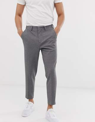 Selected tapered cropped pants with jersey stretch