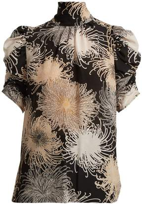 No.21 NO. 21 Chrysanthemum-print ruched-sleeve silk blouse