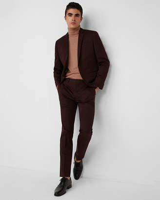 Express Slim Burgundy Cotton Sateen Suit Pant