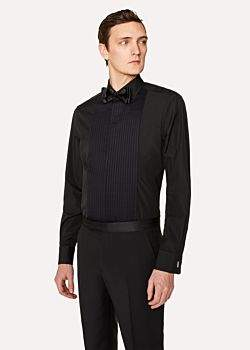 Paul Smith Men's Tailored-Fit Black Pleat-Front Cotton Evening Shirt With 'Artist Stripe' Double Cuff