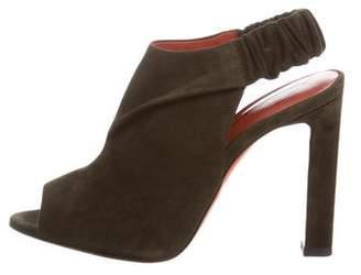 Santoni Suede Peep-Toe Sandals w/ Tags