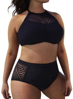 2468dfec07 Gocheaper Womens Plus Size Beach Bra Bikini Set Hollow Out Backless Swimsuit  Swimwear (Hot)