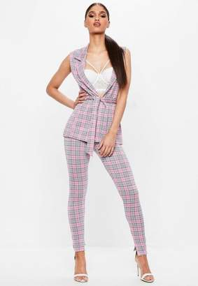 Missguided Pink Plaid Leggings