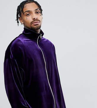 Reclaimed Vintage Inspired Track Jacket In Purple Velvet