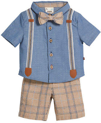 Fore Caddie Mock-Suspenders Shirt w/ Plaid Shorts & Bow Tie, Size 3-24 Months