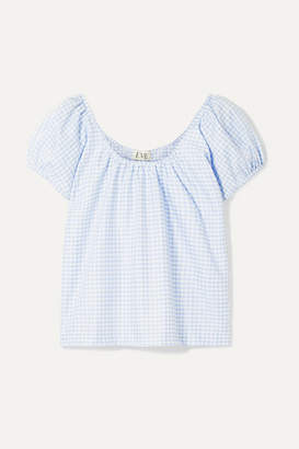 Eve Denim Camille Gingham Cotton-voile Top - Light blue