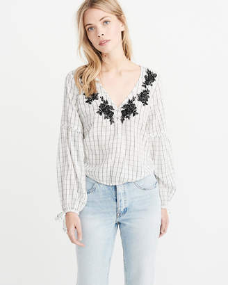 Abercrombie & Fitch Beaded Embroidered Peasant Top