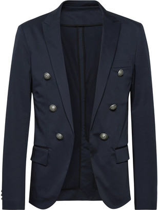 Balmain Midnight-Blue Slim-Fit Double-Breasted Cotton-Blend Blazer
