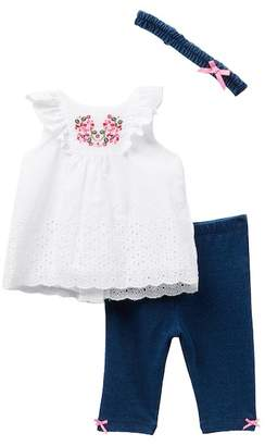 Little Me Eyelet Floral Tunic 3-Piece Set (Baby Girls)