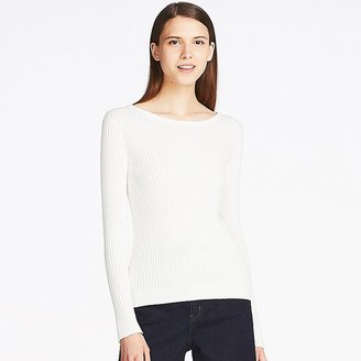 UNIQLO Women's Cotton Cashmere Ribbed Sweater $29.90 thestylecure.com