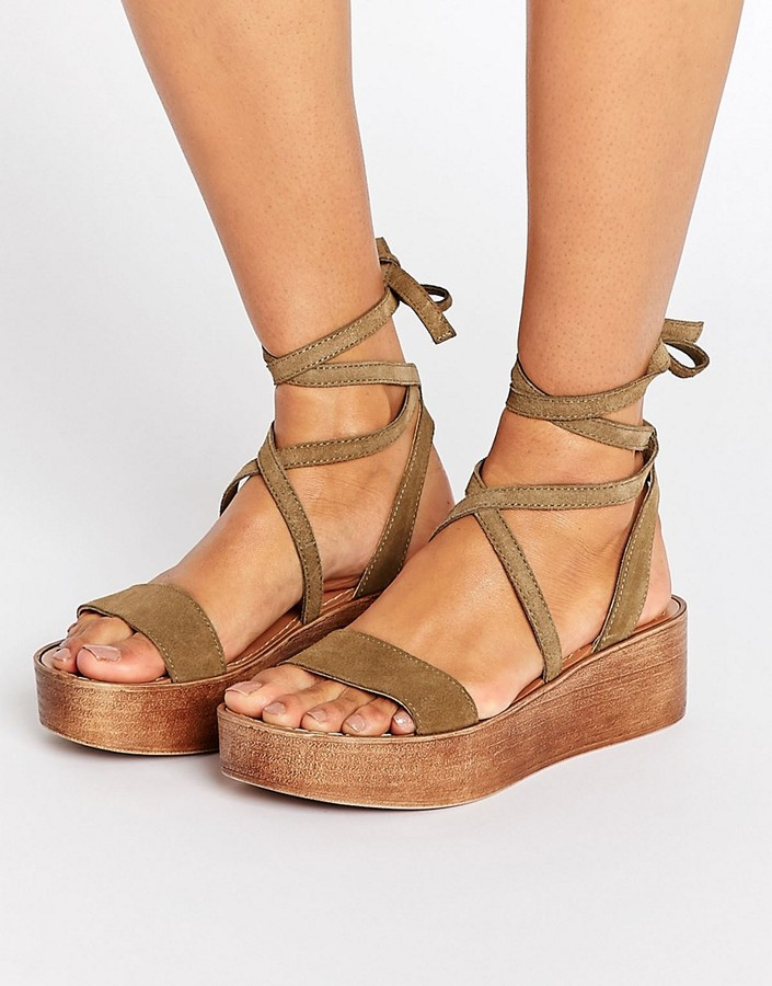 Asos ASOS TRUTHFUL Suede Tie Leg Wedges