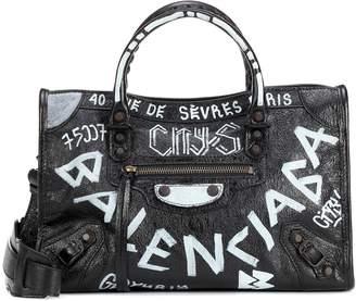 Balenciaga Classic City Graffiti Small leather tote