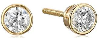 14k Gold Bezel Set Diamond with Screw Post and Back Stud Earrings (3/4cttw