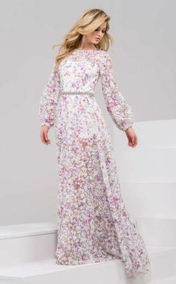 Jovani - 48387 Long-Sleeved Floral Lace Evening Gown $1,100 thestylecure.com