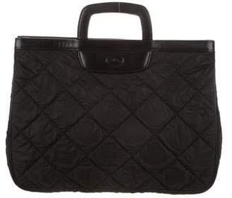Longchamp Leather Trim Quilted Handbag