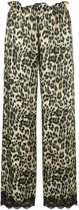 Icons leopard lace trim trousers