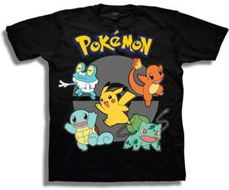 Pokemon Boys' Starter Action Pose With Pokeball And Logo Short Sleeve Graphic T-Shirt